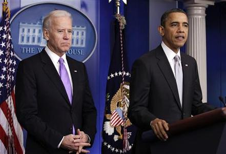 U.S. President Barack Obama (R) and Vice President Joe Biden speak to members of the media in the White House Briefing Room in Washington December 19, 2012. Obama said on Wednesday he is seeking concrete policy recommendations no later than January aimed at curbing U.S. gun violence. The effort will be led by Biden and is part of Obama's call for action after the December 14 massacre of 26 people, including 20 children, at the Sandy Hook Elementary School in Newtown, Connecticut. REUTERS/Yuri Gripas