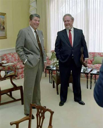 President Reagan meeting with Judge Robert Bork in the White House, October 9, 1987. REUTERS/White House