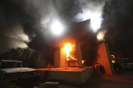The U.S. Consulate in Benghazi is seen in flames during a protest by an armed group said to have been protesting a film being produced in the United States in this September 11, 2012 file photo. REUTERS/Esam Al-Fetori/Files