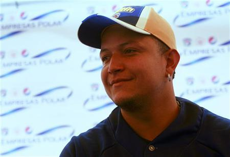 Venezuelan baseball player Miguel Cabrera of the Major League Baseball's Detroit Tigers attends an event to donate sports equipment to young athletes in Maracay November 22, 2012. REUTERS/Gil Montano