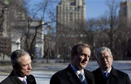 Ireland's Minister for Jobs, Enterprise and Innovation Richard Bruton, (L-R), Prime Minister Enda Kenny and Deputy Prime Minister and Minister for Foreign Affairs Eamon Gilmore, speak to the media at Washington Square Park in New York February 9, 2012, before a roundtable discussion hosted by former U.S. President Bill Clinton with global business leaders to highlight opportunities for partnership in the Irish economy. REUTERS/Andrew Kelly