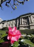 A flower is seen in front of the headquarters of the Bank of Japan in Tokyo December 20, 2012. REUTERS/Kim Kyung-Hoon