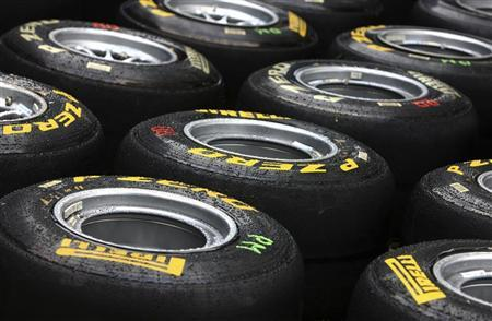 Tyres from the new tyre provider Pirelli are seen behind the pits ahead of this weekend's Australian Grand Prix in Melbourne March 24, 2011. REUTERS/Scott Wensley