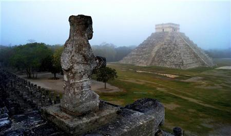 The Maya temple of Kukulkan, the feathered serpent and Mayan snake deity, is seen at the archaeological site of Chichen Itza, in the southern Mexican state of Yucatan, in this picture taken May 3, 2012 and made available to Reuters on December 17, 2012. REUTERS/Mauricio Marat/National Institute of Anthropology and History (INAH)/Handout