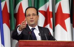 France's President Francois Hollande gives a speech at the Palais des Nations in Algiers on the second day of a two-day official visit, December 20, 2012. REUTERS/Louafi Larbi