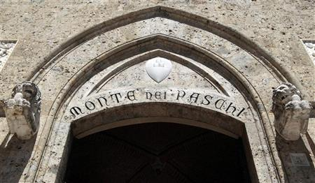 The entrance of the Monte dei Paschi bank headquarters is seen in Siena June 27, 2012. REUTERS/Stefano Rellandini