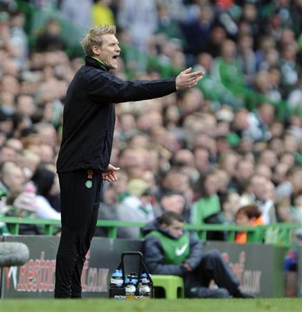 Celtic's assistant manager Johan Mjallby reacts to his side's performance against Rangers during their Scottish Premier League football match at Parkhead Stadium Glasgow, Scotland April 29, 2012. REUTERS/Russell Cheyne