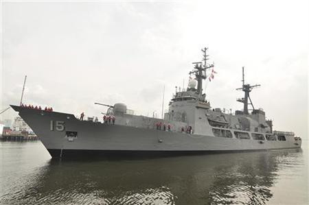 A handout photo shows a Philippines Navy warship docked at the naval headquarters in Manila December 11, 2011. REUTERS/Philippine Navy Handout/Files