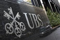 The logo of Swiss bank UBS is seen at their offices in New York December 19, 2012. REUTERS/Andrew Burton