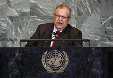 Iraq's President Jalal Talabani addresses the 66th session of the United Nations General Assembly at the U.N. headquarters in New York September 23, 2011. REUTERS/Mike Segar