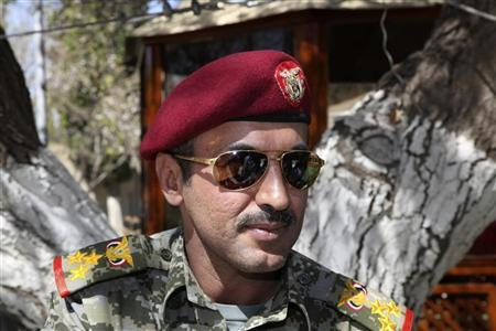 Brigadier General Ahmed Saleh, the son of Yemen's ex-president Ali Abdullah Saleh, is seen at the presidential palace in Sanaa in this February 19, 2011 file photo. REUTERS/Khaled Abdullah