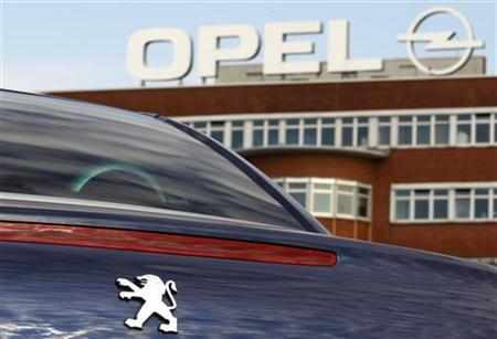 A Peugeot car is pictured at the Opel plant in Bochum October 22, 2012. Opel's U.S. parent company General Motors will post third-quarter results on October 31. REUTERS/Ina Fassbender (GERMANY - Tags: TRANSPORT BUSINESS EMPLOYMENT)