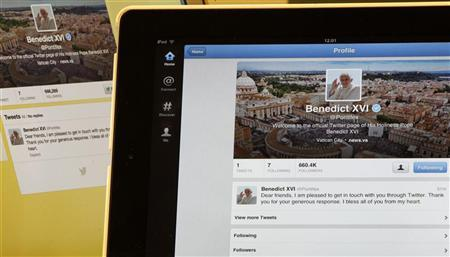 Pope Benedict XVI's twitter account is pictured with his first tweet on an iPad tablet in this photo illustration taken in Milan December 12, 2012. REUTERS/Stefano Rellandini