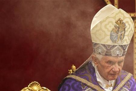 Pope Benedict XVI looks on through the incense smoke as he leads a Vespers mass in Saint Peter's basilica at the Vatican December 1, 2012. REUTERS/Max Rossi