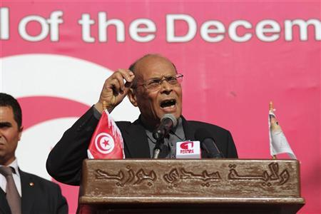Tunisia's President Moncef Marzouki gives a speech in the central town of Sidi Bouzid December 17, 2012. REUTERS/Mohamed Amine ben Aziza