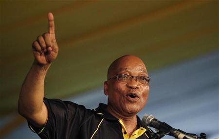 South Africa's President Jacob Zuma celebrates his re-election as Party President at the National Conference of the ruling African National Congress (ANC) in Bloemfontein December 18, 2012. REUTERS/Mike Hutchings
