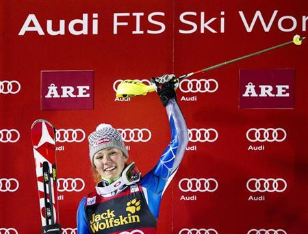 Mikaela Shiffrin of the U.S. celebrates on the podium after winning the FIS Alpine Ski World Cup women's slalom in Are, December 20, 2012. REUTERS/Pontus Lundahl/Scanpix