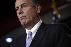 "U.S. House Speaker John Boehner (R-OH) speaks to the media on a ""fiscal cliff"" on Capitol Hill in Washington, December 20, 2012. Boehner said on Thursday that he expects to keep working with President Barack Obama to try to avert the year-end ""fiscal cliff"" after House Republicans pass an alternative plan for a tax hike on millionaires. REUTERS/Yuri Gripas (UNITED STATES - Tags: POLITICS BUSINESS)"
