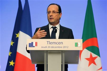 French President Francois Hollande speaks during a news conference in Tlemcen on the second day of his state visit to Algeria, December 20, 2012. REUTERS/Philippe Wojazer