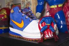 "A shoe inspired by Superman is pictured at the ""ShoeZeum"" in downtown Las Vegas, Nevada September 25, 2012. REUTERS/Steve Marcus"