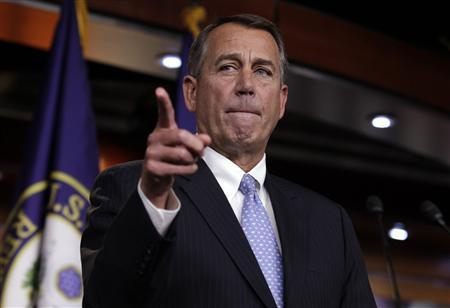 U.S. House Speaker John Boehner (R-OH) speaks to the media on a ''fiscal cliff'' on Capitol Hill in Washington, December 20, 2012.REUTERS/Yuri Gripas