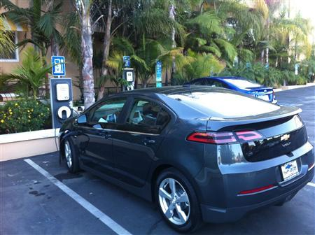 The plug-in hybrid Chevy Volt is shown being charged at the Hollywood Hotel in Los Angeles, California in this undated handout photograph. REUTERS/Handout