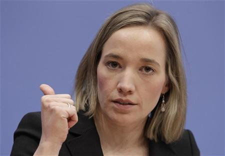 German Families Minister Kristina Schroeder addresses a news conference in Berlin, September 24, 2012. REUTERS/Tobias Schwarz
