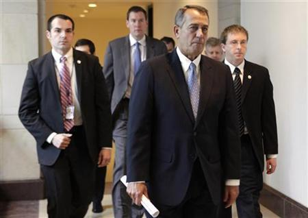 U.S. House Speaker John Boehner (R-OH) leaves after his news conference on a ''fiscal cliff'' on Capitol Hill in Washington, December 20, 2012. REUTERS/Yuri Gripas