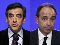 Les Français mais surtout les sympathisants de droite sont une large majorité à souhaiter que ni François Fillon, ni Jean-François Copé ne se représentent lors des nouvelles élections de septembre 2013 à l'UMP, selon un sondage BVA. /Photos d'archives/REUTERS/Gonzalo Fuentes