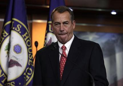 U.S. House Speaker John Boehner (R-OH) arrives to speak to the media on the ''fiscal cliff'' on Capitol Hill in Washington, December 21, 2012. Boehner said on Friday that congressional leaders and President Barack Obama must try to move on from House Republicans' failed tax plan and work together to resolve the looming U.S. ''fiscal cliff.'' REUTERS/Yuri Gripas