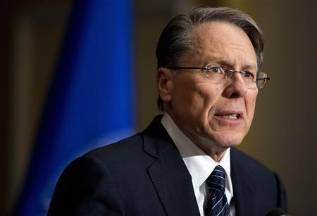 Wayne LaPierre, Executive Vice President of the National Rifle Association (NRA), speaks during a news conference in Washington December 21, 2012. REUTERS/Joshua Roberts