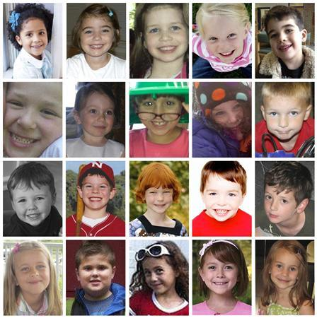 Undated handout photos from various memorial websites show the child victims of the December 14, 2012 Sandy Hook Elementary School shootings in Newton, Connecticut. Top row: (L-R) Ana Marquez-Greene, Caroline Previdi, Jessica Rekos, Emilie Parker, Noah Pozner. Second row: (L-R) Jesse Lewis, Olivia Engel, Josephine Gay, Charlotte Bacon, Chase Kowalski. Third row: (L-R) Daniel Barden, Jack Pinto, Catherine Hubbard, Dylan Hockley, Benjamin Wheeler. Fourth row: (L-R) Grace McDonnell, James Mattioli, Avielle Richman, Madeleine Hsu, Allison Wyatt. REUTERS/Handout