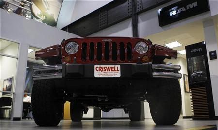 A Jeep Wrangler is shown on the showroom floor at the Criswell Chrysler-Dodge-Jeep-Fiat-Ram truck dealership in Gaithersburg, Maryland October 2, 2012. REUTERS/Gary Cameron