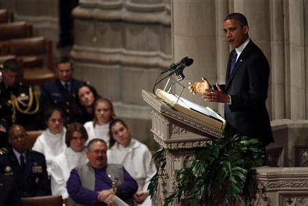 U.S. President Barack Obama speaks during the funeral service for Hawaii Senator Daniel Inouye at the National Cathedral in Washington December 21, 2012. Inouye died on Monday at the age of 88. He was the second-longest serving senator ever and third in the line of presidential succession as the Senate's senior member. REUTERS/Kevin Lamarque