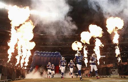 The Buffalo Bills take the field before their NFL football game against the Seattle Seahawks in Toronto, December 16, 2012. REUTERS/Mark Blinch