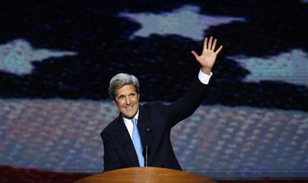 U.S. Navy veteran and former Democratic presidential nominee U.S. Senator John Kerry (D-MA) waves at the end of his speech during a segment on U.S. veterans during the final session of the Democratic National Convention in Charlotte, North Carolina September 6, 2012. REUTERS/Jason Reed/Files