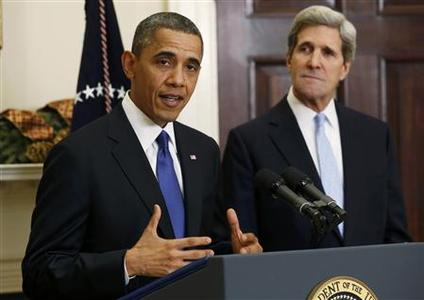 U.S. President Barack Obama (L) announces the nomination of Senator John Kerry (D-MA) as Secretary of State to succeed Hillary Clinton, at the White House in Washington December 21, 2012. REUTERS/Kevin Lamarque