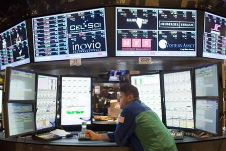 A trader works on the floor of the New York Stock Exchange in New York, December 21, 2012. U.S. stocks finished lower on Friday after a Republican plan to avoid the ''fiscal cliff'' failed to gain sufficient support on Thursday night, draining hopes that a deal would be reached before 2013. Still, stocks managed to rebound from the day's lows near the end of the session, and for the week, major averages still ended higher, with the S&P 500 gaining 1.2 percent. REUTERS/Andrew Burton (UNITED STATES - Tags: BUSINESS)