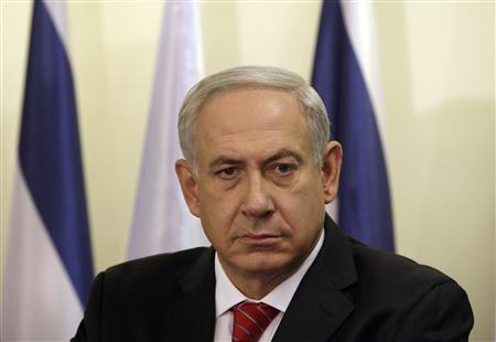 Israel's Prime Minister Benjamin Netanyahu pauses during the delivery of joint statements with Bulgaria's President Rosen Plevneliev (not pictured) before their meeting in Jerusalem October 23, 2012. REUTERS/Baz Ratner