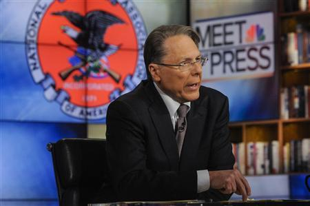 Wayne LaPierre, CEO and Executive Vice President, National Rifle Association, appears on ''Meet the Press'' in Washington D.C. in this December 23, 2012 handout photo. REUTERS/William B. Plowman/NBC/Handout