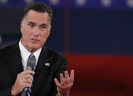 Republican presidential nominee Mitt Romney answers a question during the second U.S. presidential debate in Hempstead, New York, October 16, 2012. REUTERS/Lucas Jackson