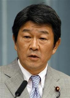 Toshimitsu Motegi speaks during a news conference at the then premier's official residence in Tokyo August 1, 2008. REUTERS/Toru Hanai/Files