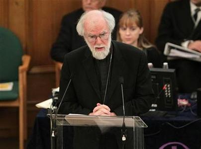 The Archbishop of Canterbury, Rowan Williams, speaks during a meeting of the General Synod of the Church of England, at Church House in central London November 21, 2012. REUTERS/Yui Mok/Pool