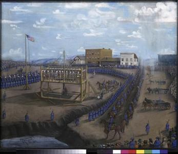 A painting titled ''Execution of Dakota Indians, Mankato, Minnesota'' is pictured in this handout photo from the Minnesota Historical Society. REUTERS/Minnesota Historical Society/Handout