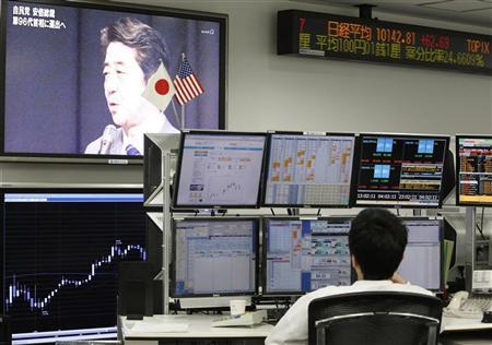An employee of a foreign exchange trading company looks at monitors as a television set shows Japan's incoming Prime Minister and the leader of Liberal Democratic Party (LDP) Shinzo Abe speaking in Tokyo December 26, 2012. REUTERS/Yuriko Nakao