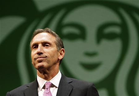 Starbucks CEO Howard Schultz speaks to shareholders at the company's annual meeting of shareholders in Seattle, Washington March 23, 2011. REUTERS/Robert Sorbo