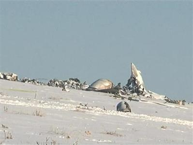 Still image from video shows the remains of an Antonov An-72 military transport plane after it crashed near Shymkent December 26, 2012. REUTERS/TV7.kz/Handout