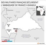 DES MILITAIRES FRANÇAIS SÉCURISENT L'AMBASSADE DE FRANCE À BANGUI