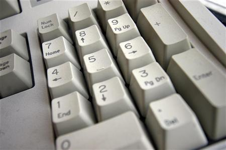 A generic picture of the number keypad on a computer keyboard. OFFPO REUTERS/Catherine Benson
