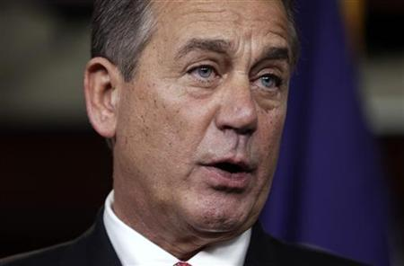 U.S. House Speaker John Boehner (R-OH) speaks to the media on the ''fiscal cliff'' on Capitol Hill in Washington, December 21, 2012. REUTERS/Yuri Gripas